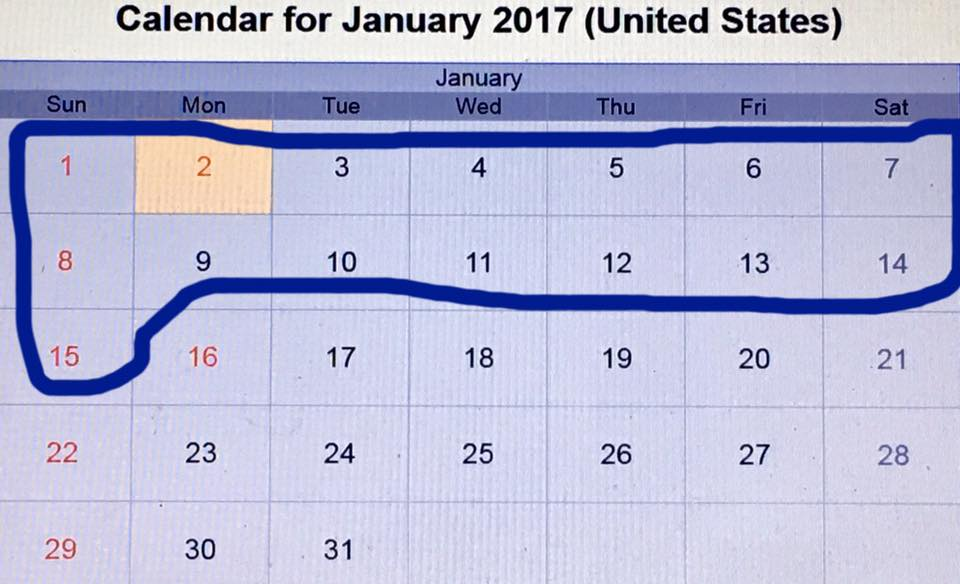 January 2017 calendar with first 15 days circled