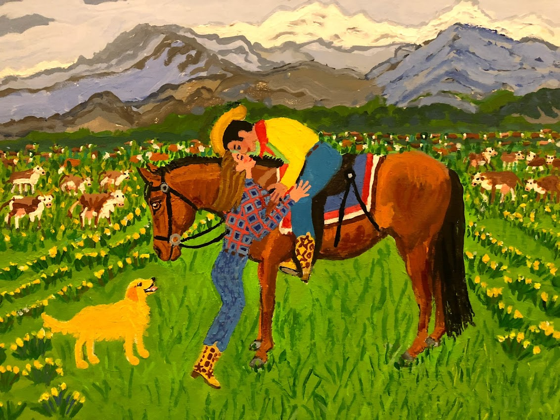 a painting of a cowboy wearing a yellow shirt and red bandanna leaning over to kiss a girl in a field of cattle