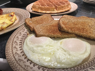 eggs over easy waffle toast omelet vintage china