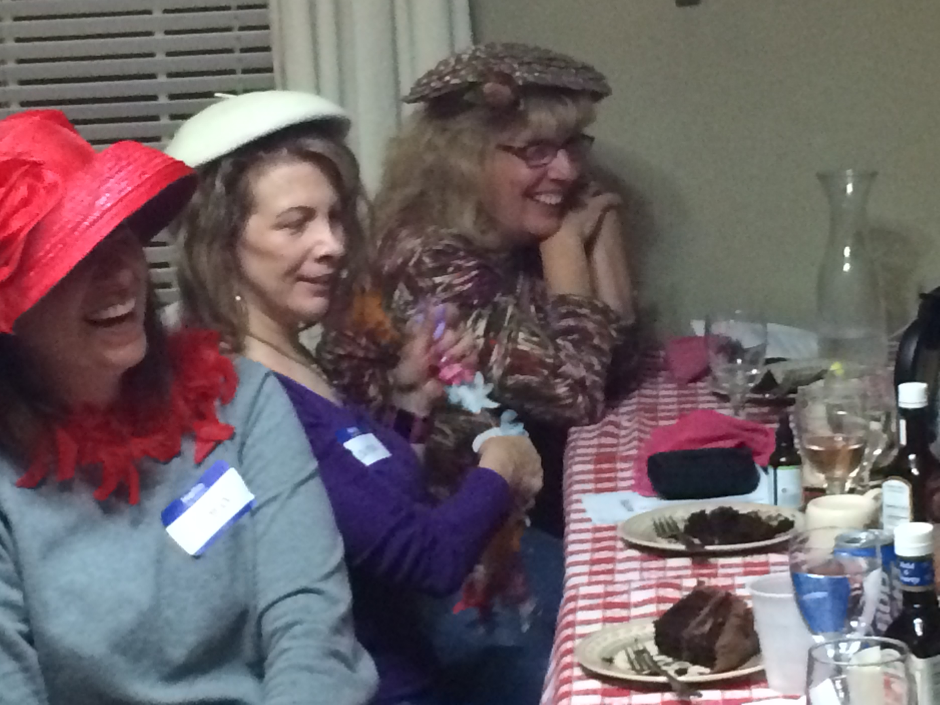 Murder Mystery Dinner Ladies with Chocolate Cake Dessert
