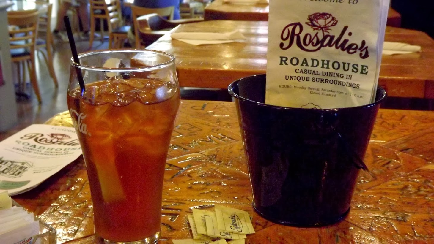 glass of iced tea with Rosalie's roadhouse menu
