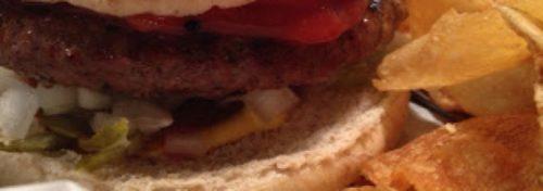 closeup of hamburger