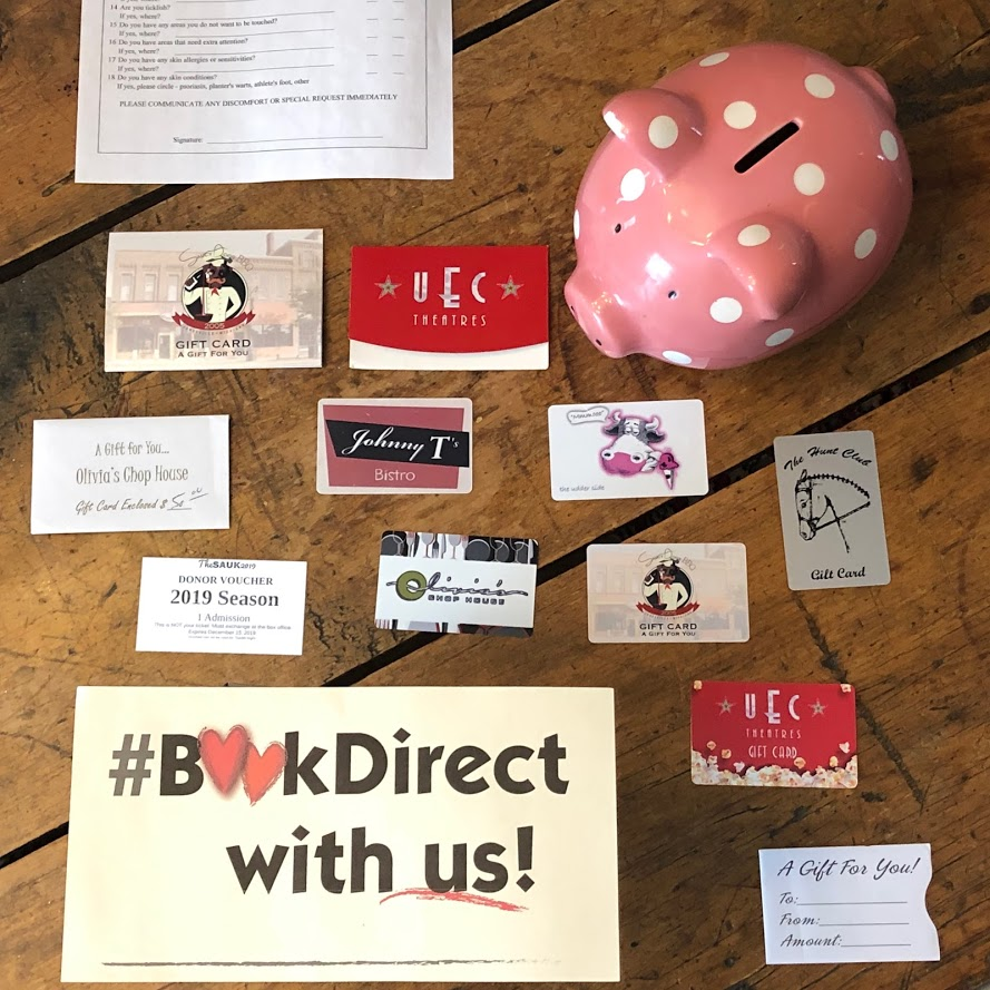 Piggy Bank and gift cards promoting #bookdirect with us