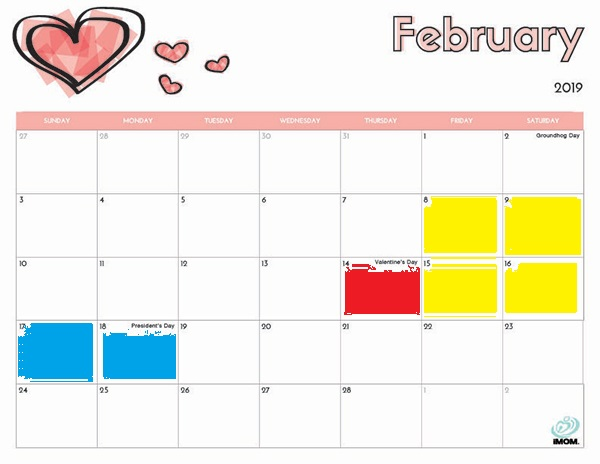 February 2019 calendar with weekends around Valentines day highlighted in yellow