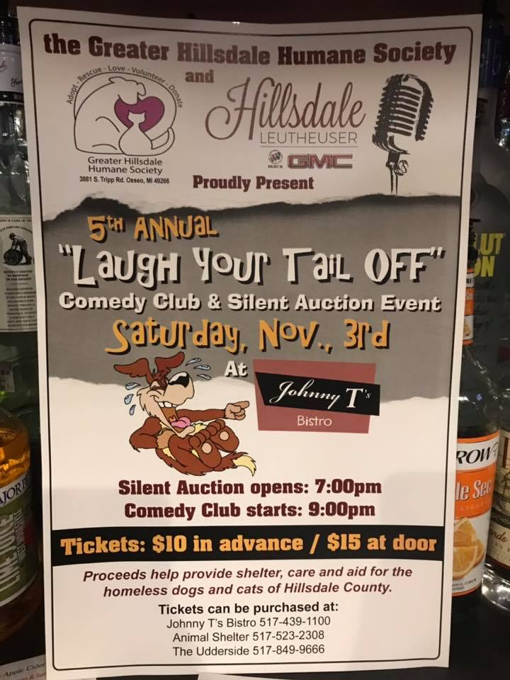 comedy club poster advertising upcoming show at Johnny T's Bistro in HIllsdale Mi to benefit a local Humane Society