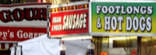 colorful fair sign for vendors selling food
