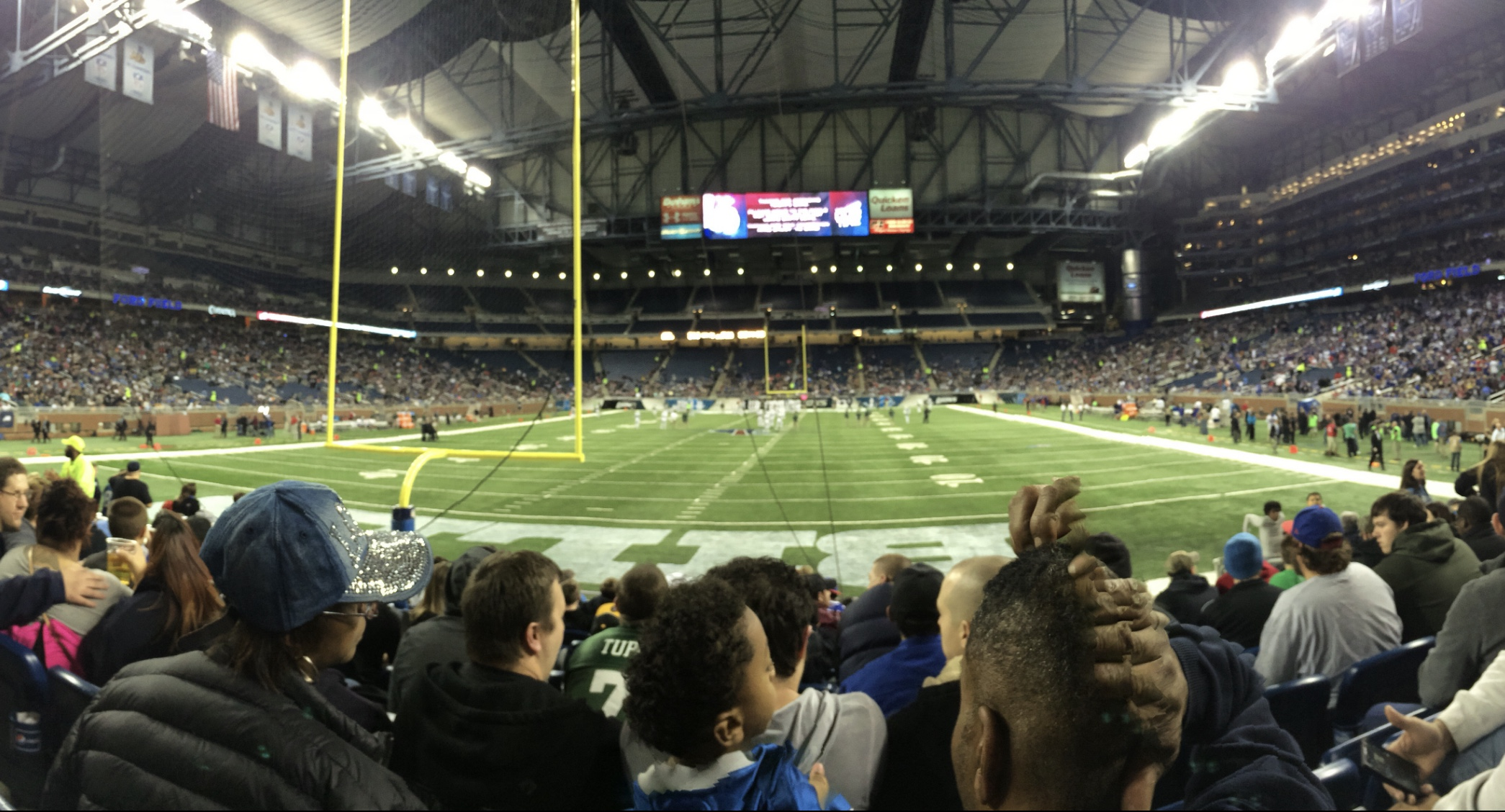 indoor football stadium view from end zone
