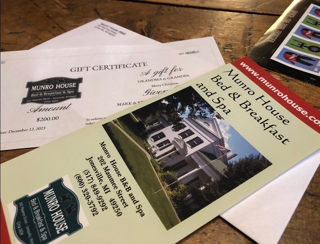 Gift certificate with color brochure for B&B
