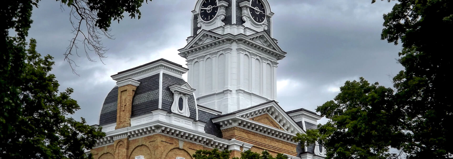 the clock tower at Hillsdale college surrounded by trees against a gray sky