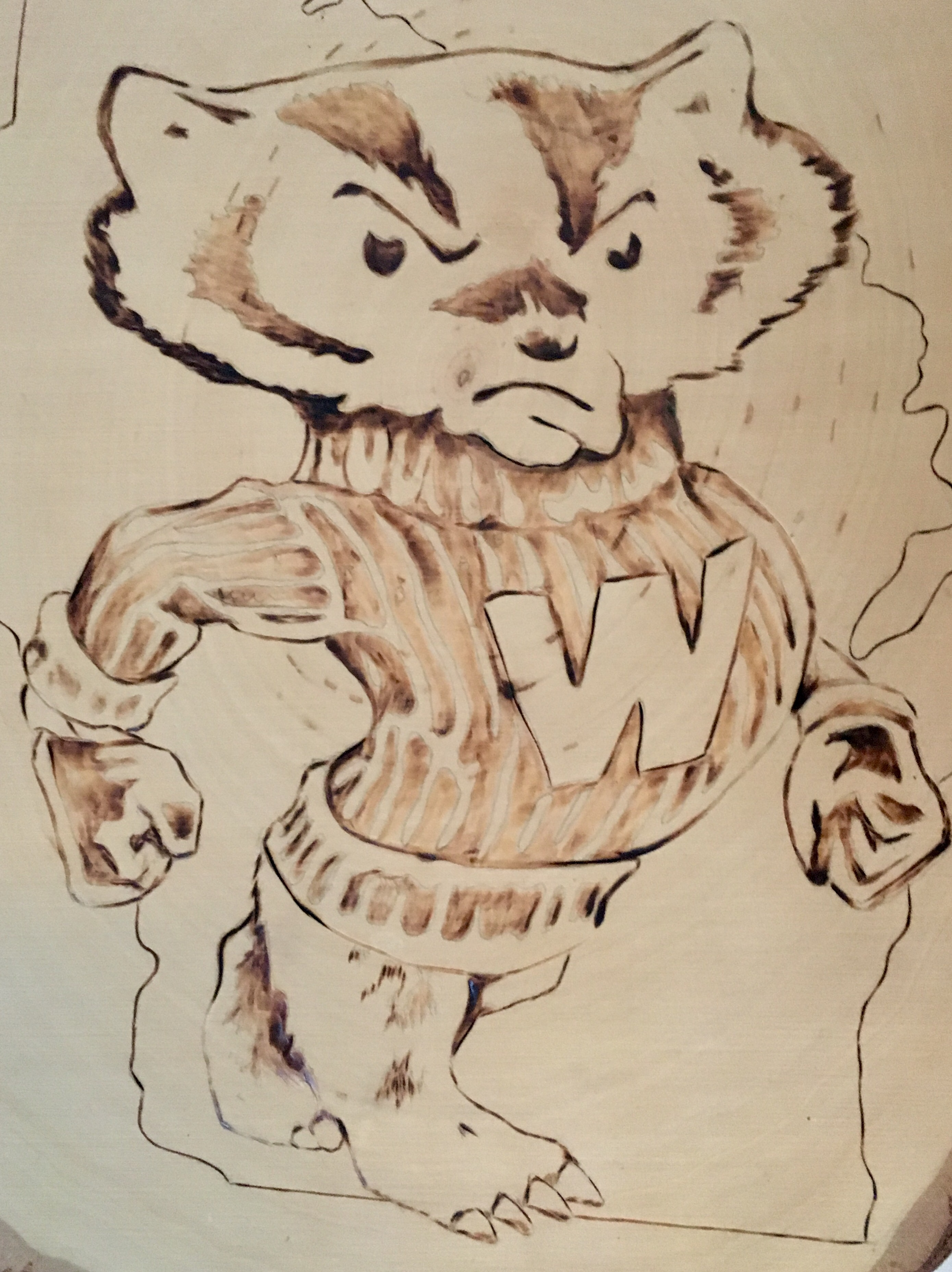 Bucky Badger University of Wisconsin mascot wood burning etch