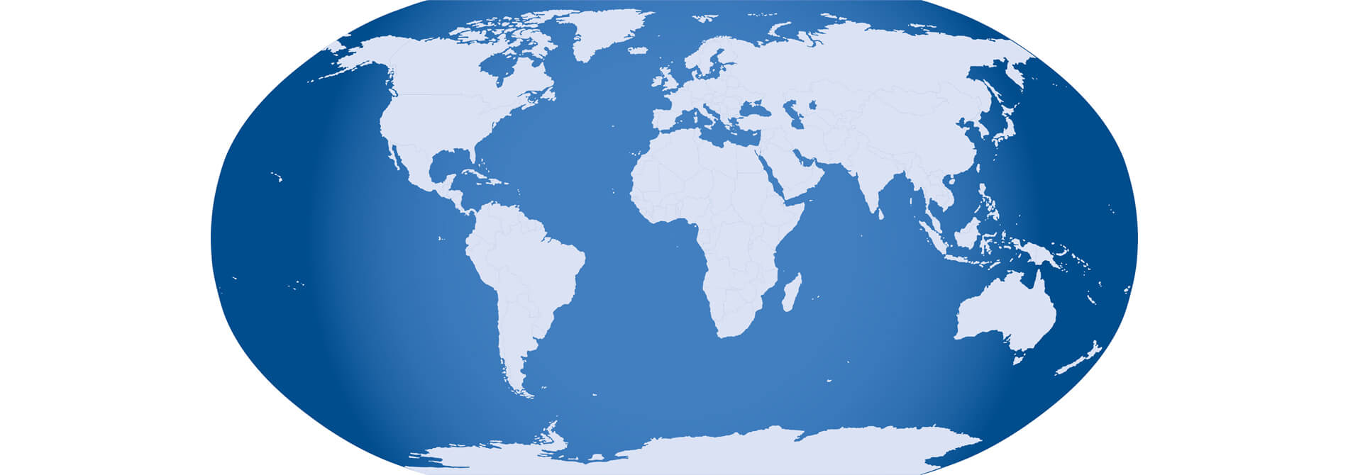 flat map of the world depicting land in white and water in blue