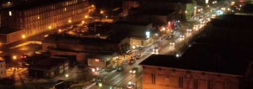 night aerial view of downtown jonesville