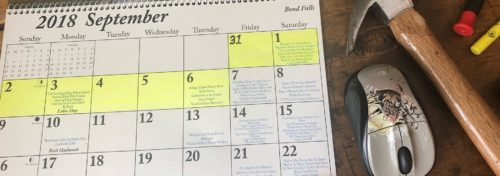 September 2018 calendar with Labor Day week in yellow highlighter