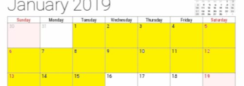 january 2019 calendar with 1st-15th highlighted in yellow