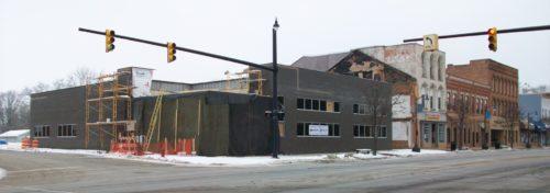 modern corner building under construction
