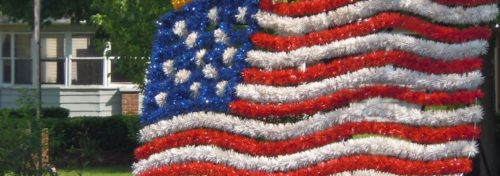 American flag art in park