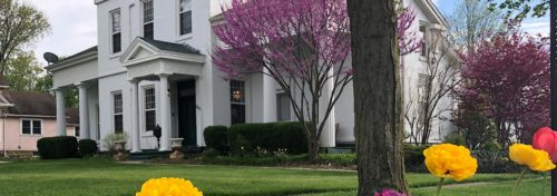 white greek revival style home with red bud trees