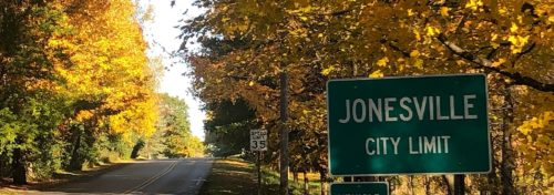 green city limits sign amidst yellow leaves of trees lining a road