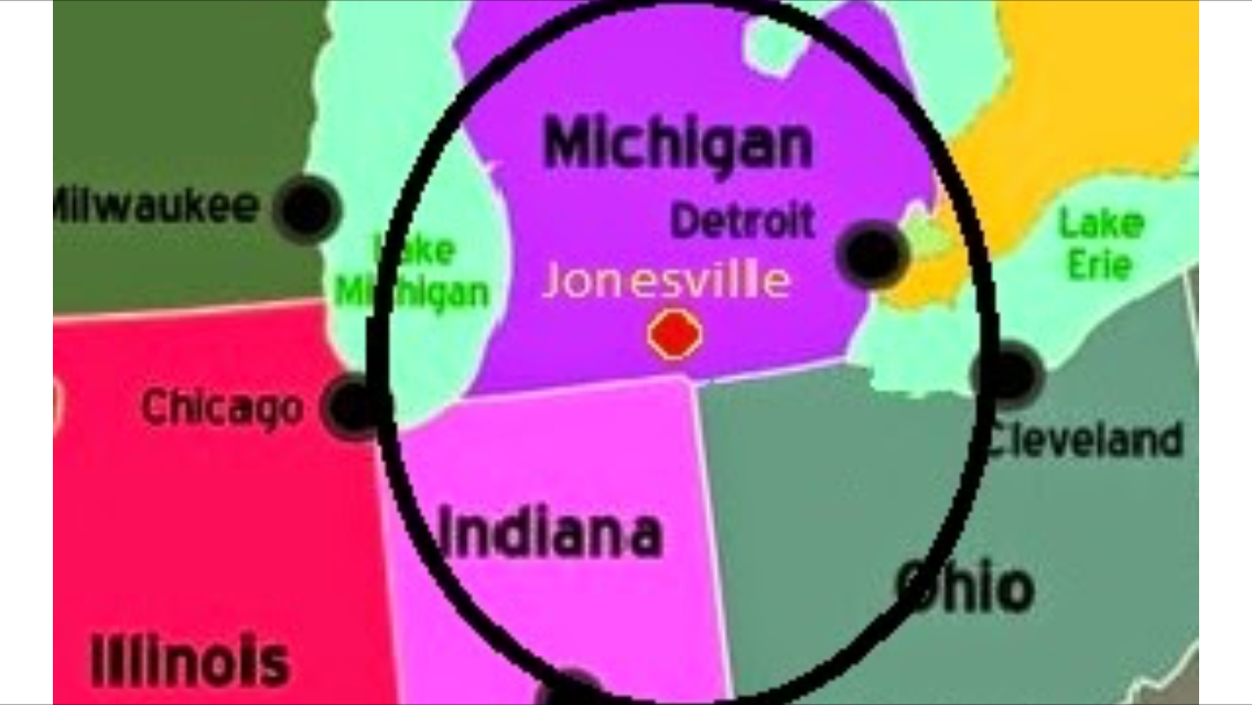 mapping the location of Jonesville Michigan relative to Detroit, Chicago, Indianapolis, and Cleveland