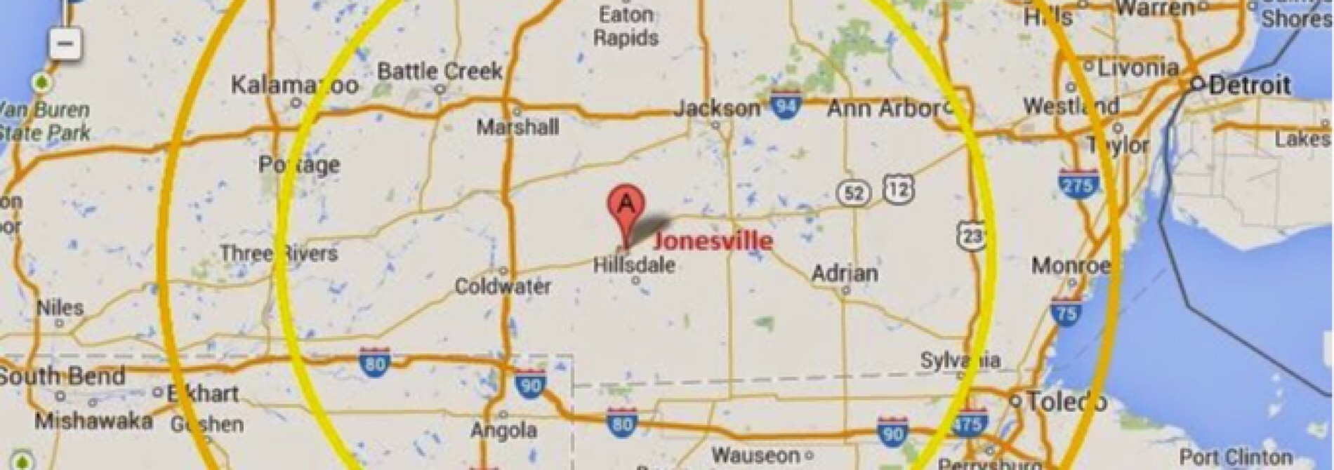 map of 100 mile radius jonesville mi