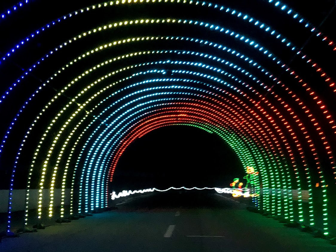 multi-colored drive-through light tunnel
