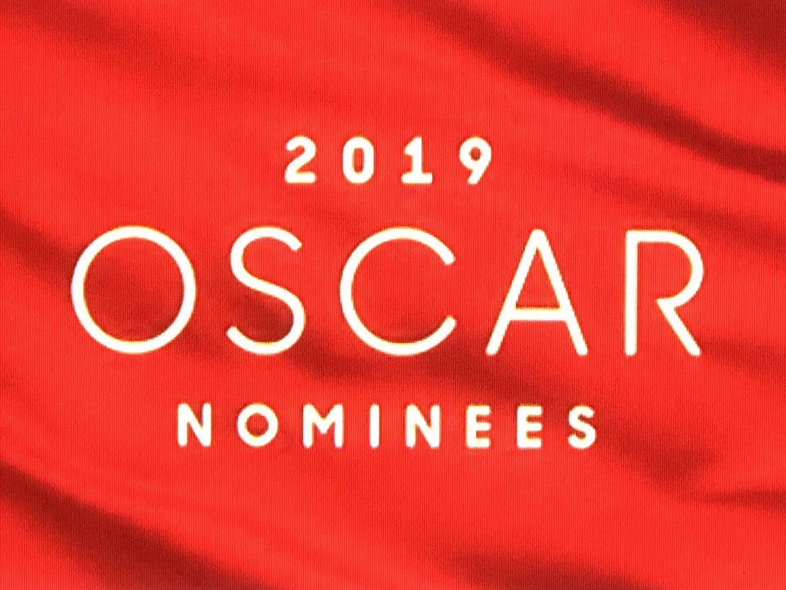 2019 Oscar Nominations on red background