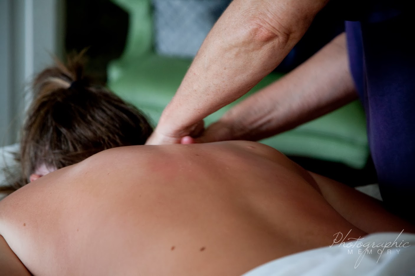 woman getting a back massage