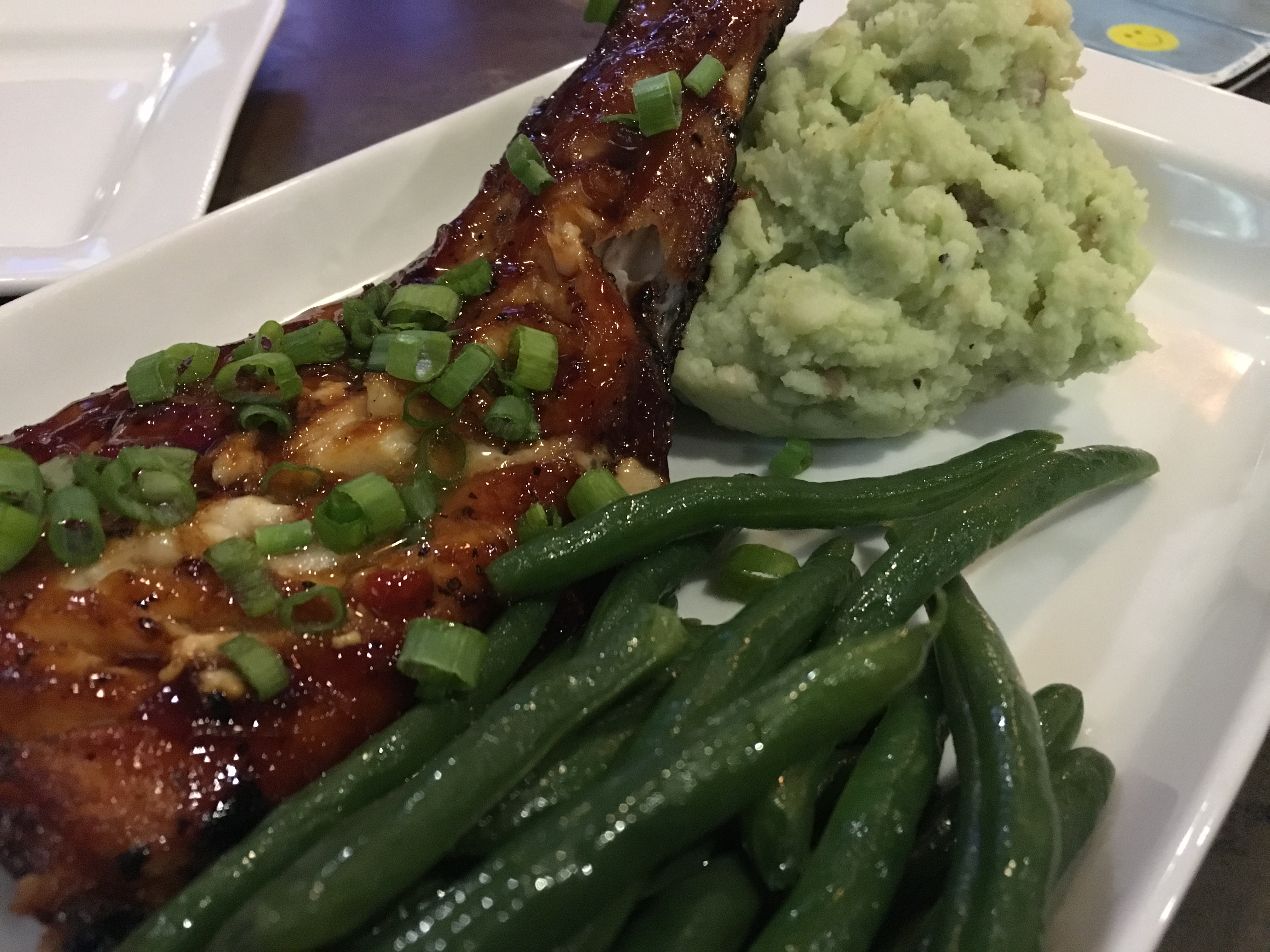 pork shank with green beans and wasabe mashed potatoes from Olivia's Chop House in Jonesville MI