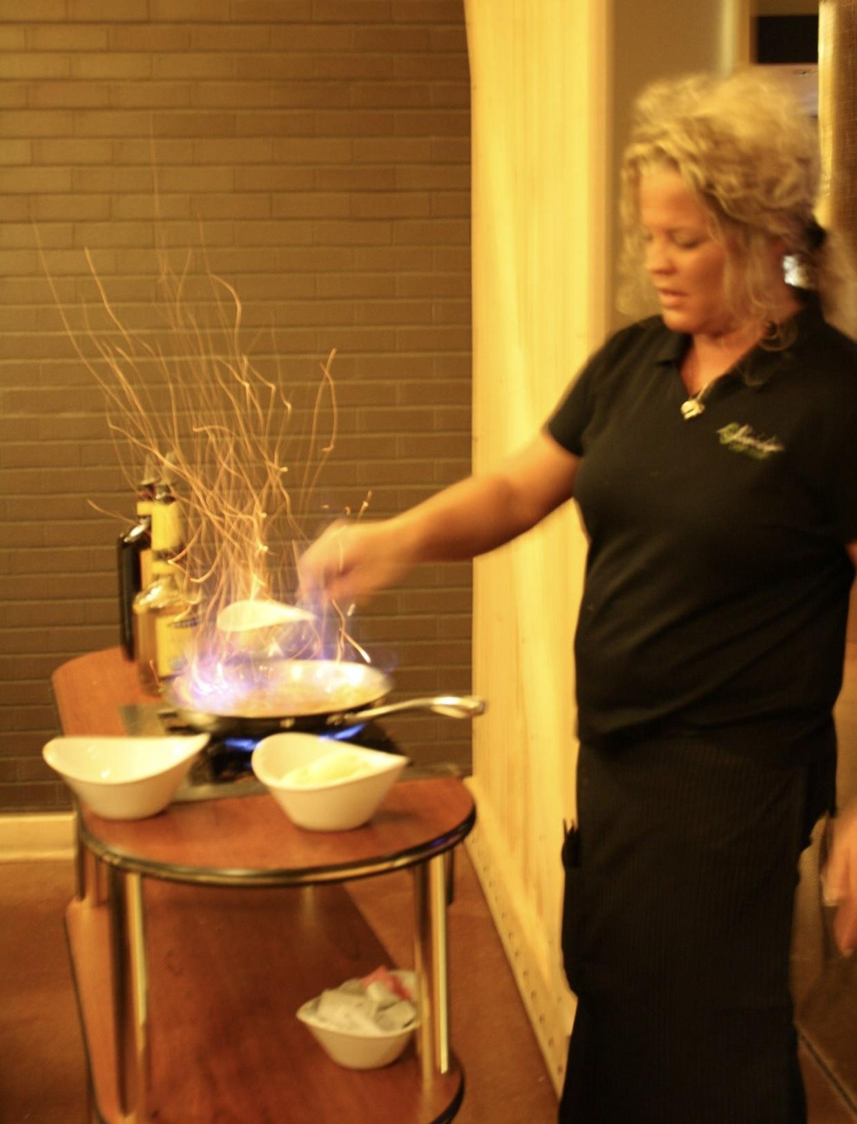Bananas Foster Flaming Dessert at Olivia's Chop House