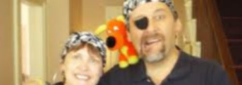 mana and woman dressed as pirates with eye patch