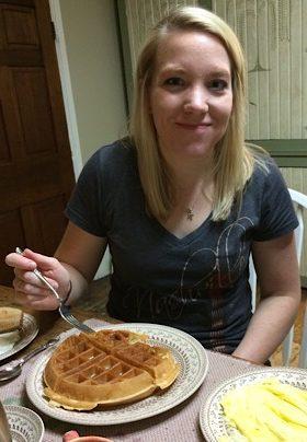 girl with belgian waffle