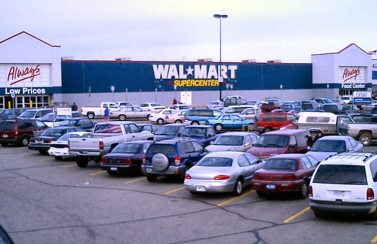 parking lot full of cars at Walmart