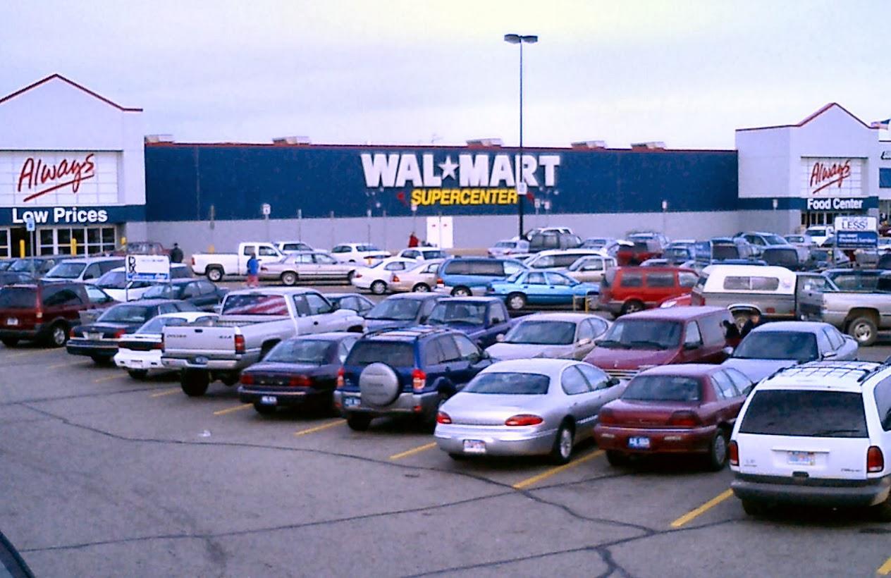 parking lot full of cars at Walmart